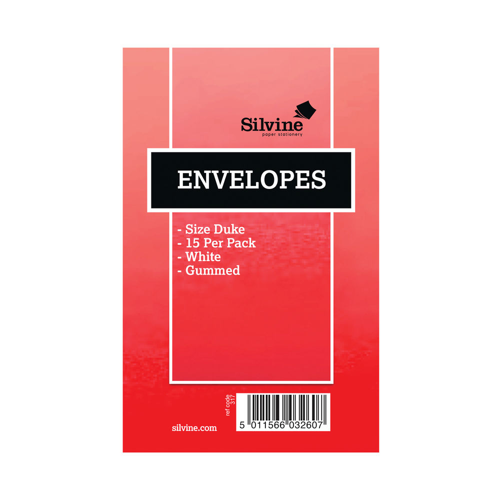 Silvine White Duke Pre-Glued Envelopes (Pack of 36) – 317