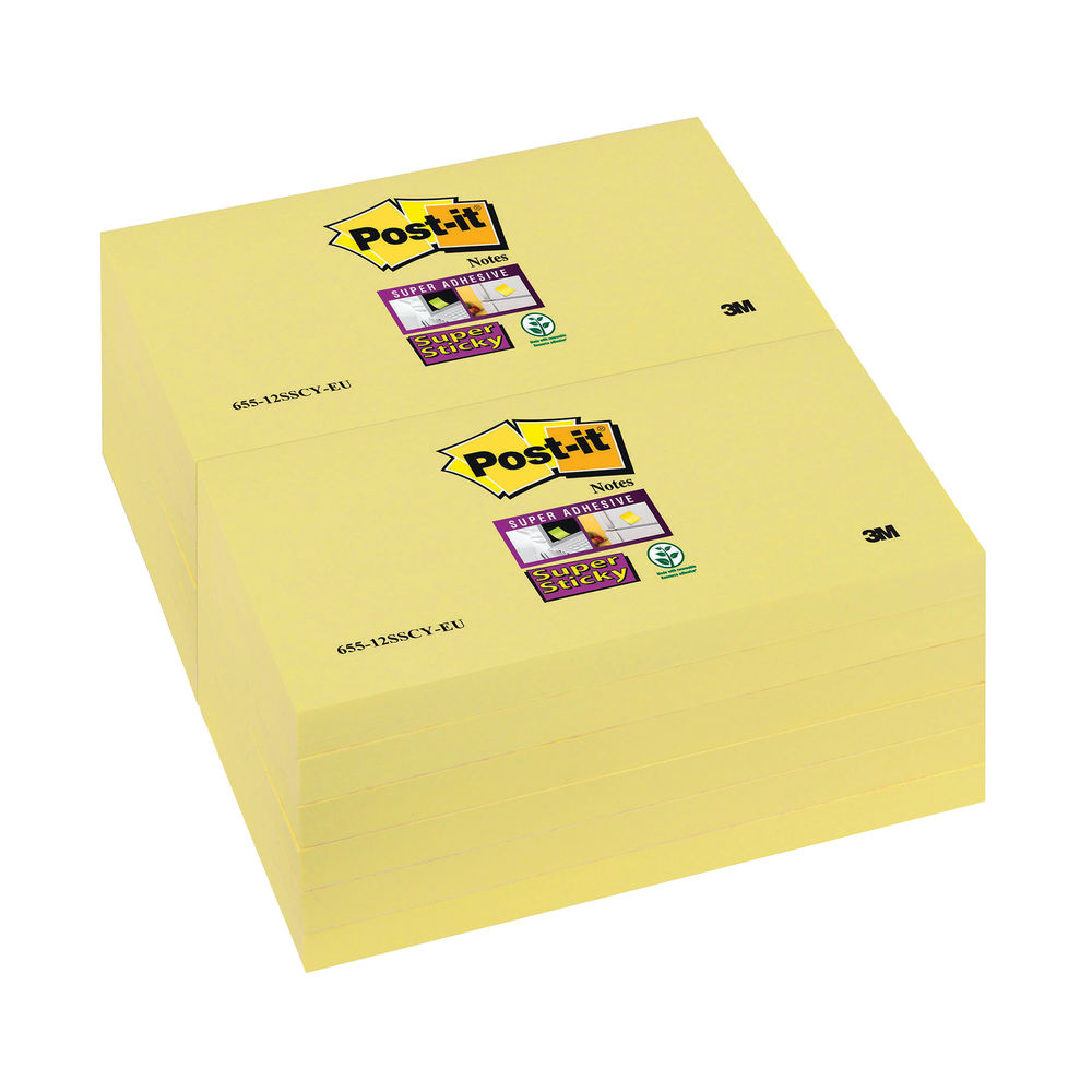 Post-it 76 x 127mm Canary Yellow Super Sticky Notes, Pack of 12 | 655-12SSCY