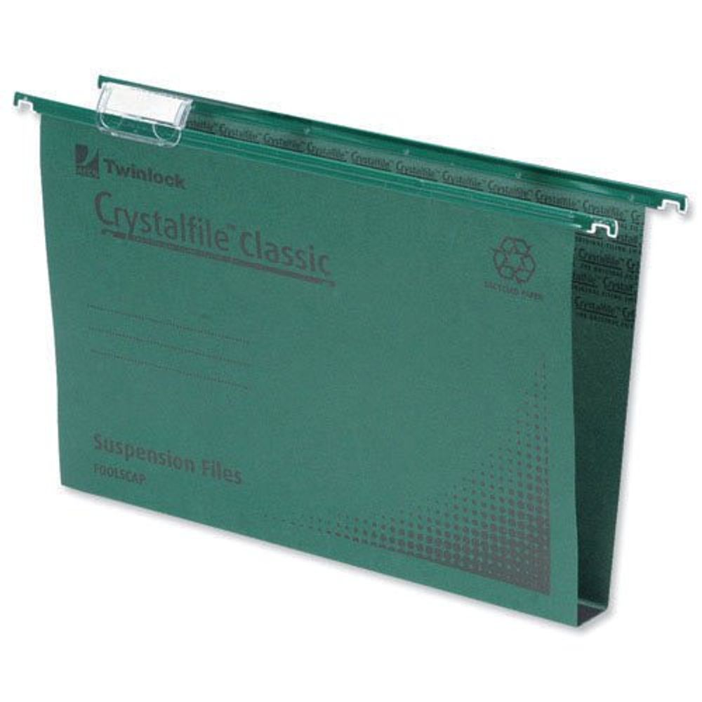 Rexel Crystalfile Classic Suspension File 50mm Green (Pack of 50) 71750