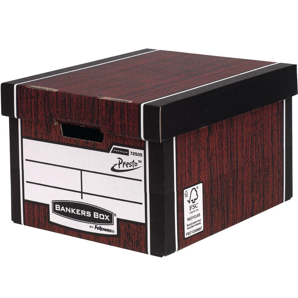Fellowes Bankers Box Tall Premium Storage Box Woodgrain, Pack of 10 - 7260503