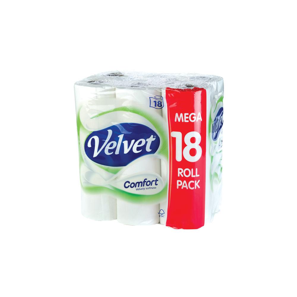 Velvet White 2-Ply Comfort Toilet Rolls, Pack of 18 - KSCATV18