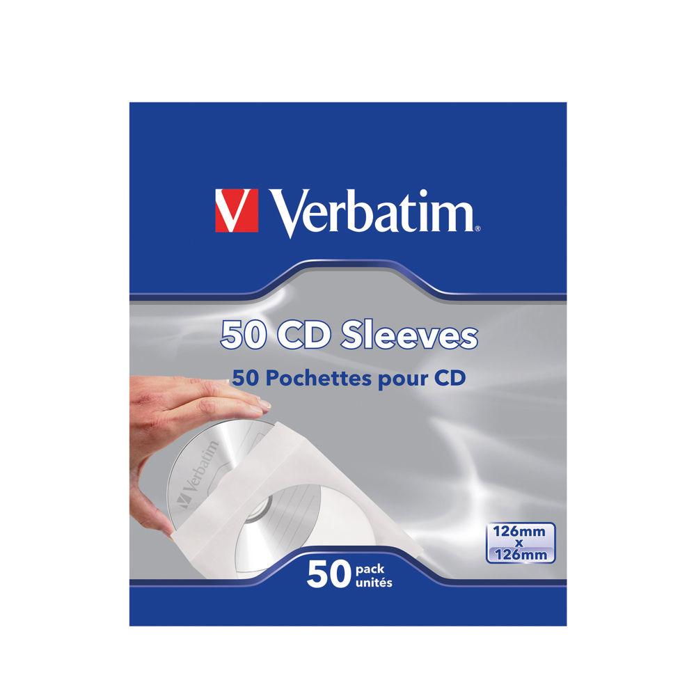 Verbatim CD Sleeves, Pack of 50 - 49992