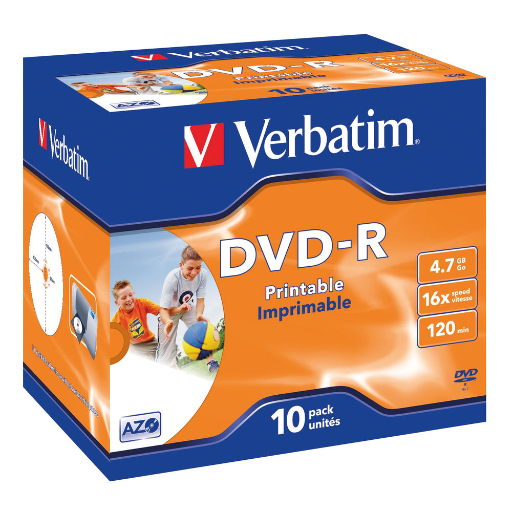 Verbatim DVD-R 4.7GB 16X Wide Inkjet Printable, Pack of 10 - 43521