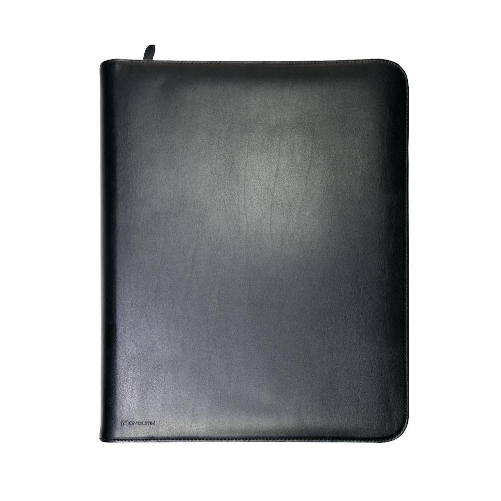 Monolith Zipped Leather Ring Binder w/Internal Pockets A4 Black 2924
