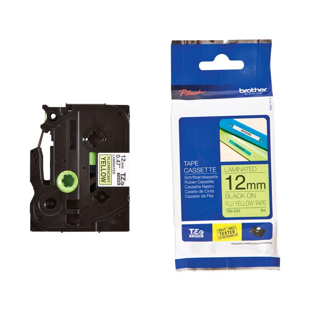 Brother TZe Labelling Tape 12mm x 5m Black on Fluor Yellow TZEC31