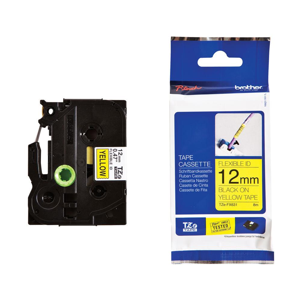 Brother TZe Labelling Tape Flexible 12mm x 8m Black on Yellow TZEFX631