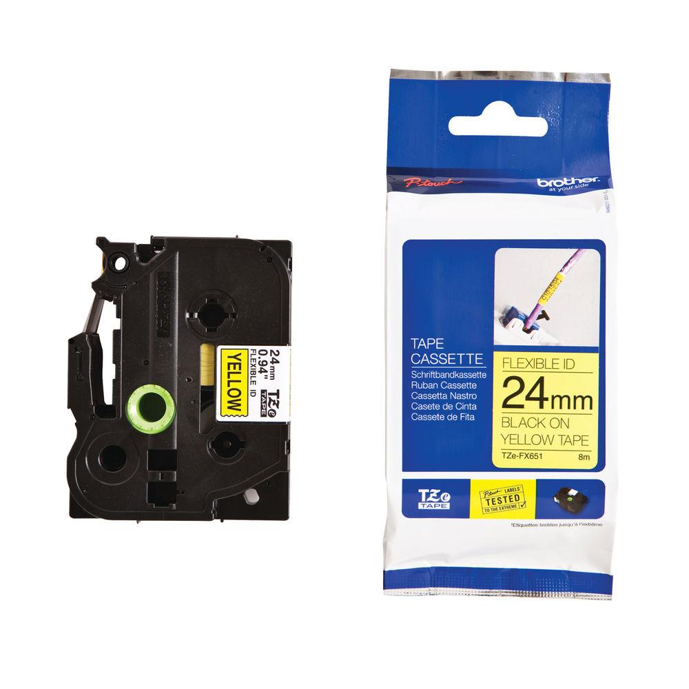 Brother TZe Labelling Tape Flexible 24mm x 8m Black on Yellow TZEFX651