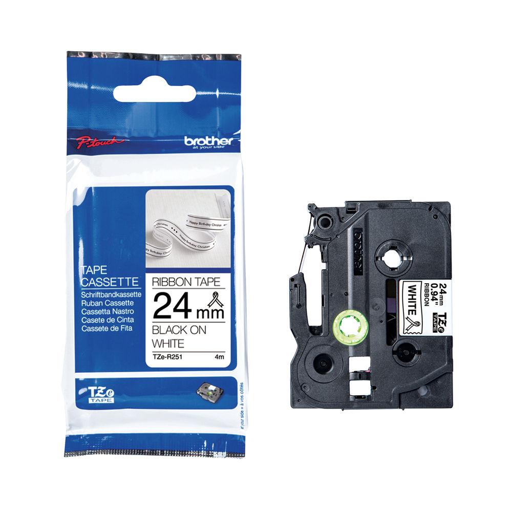 Brother TZe P-T Labelling Ribbon Tape 24mm x 4m Black on White TZER251