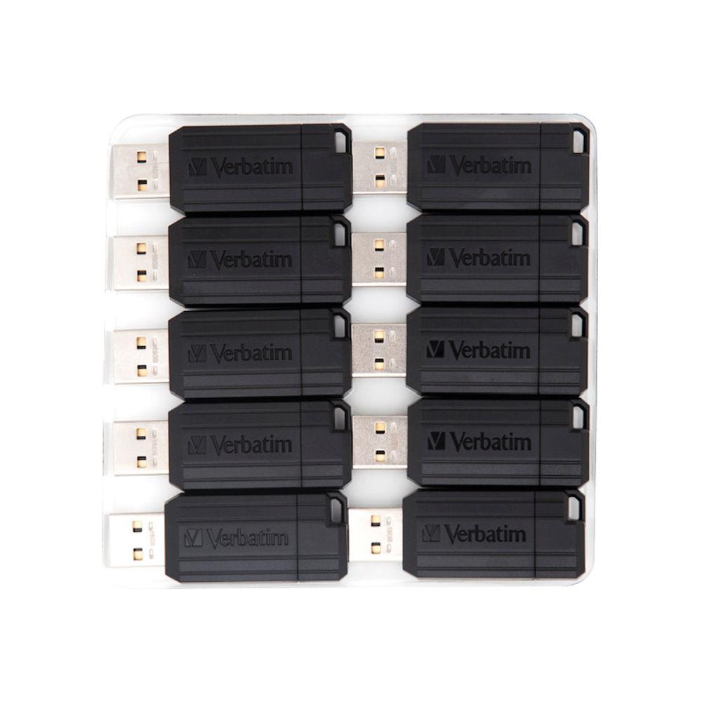 Verbatim Pinstripe 16GB USB Flash Drive, Pack of 10 - 49046
