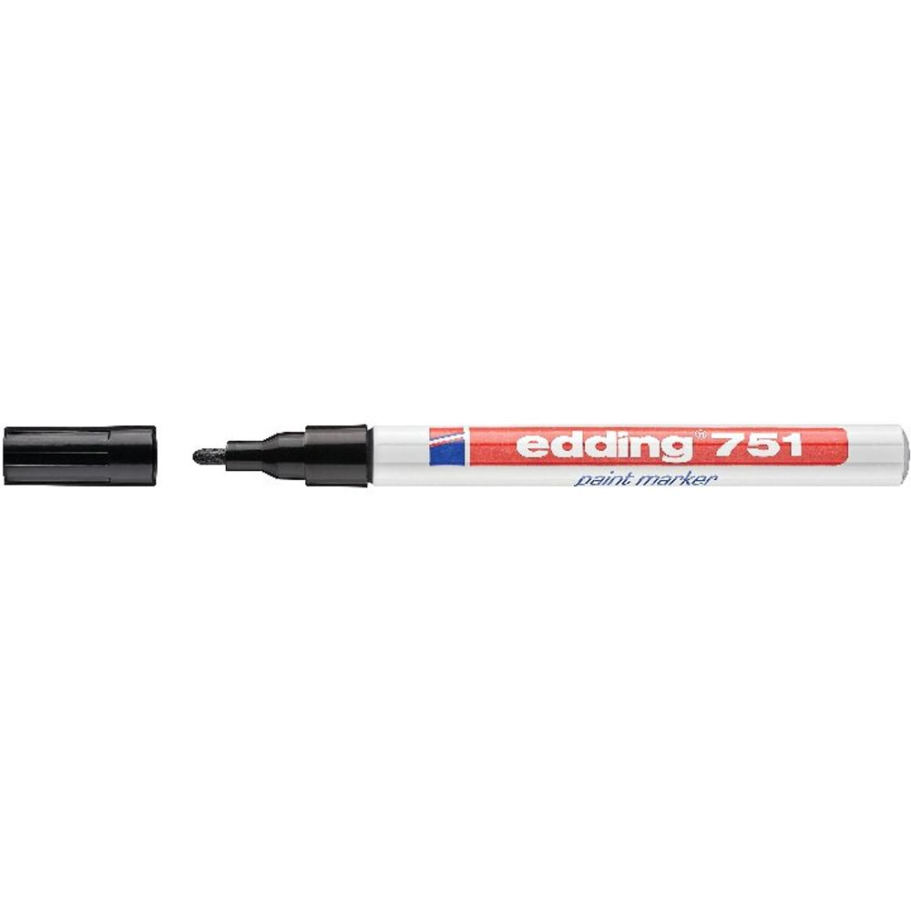 Edding 751 Black Fine Bullet Tip Paint Marker, Pack of 10 - 4-751001