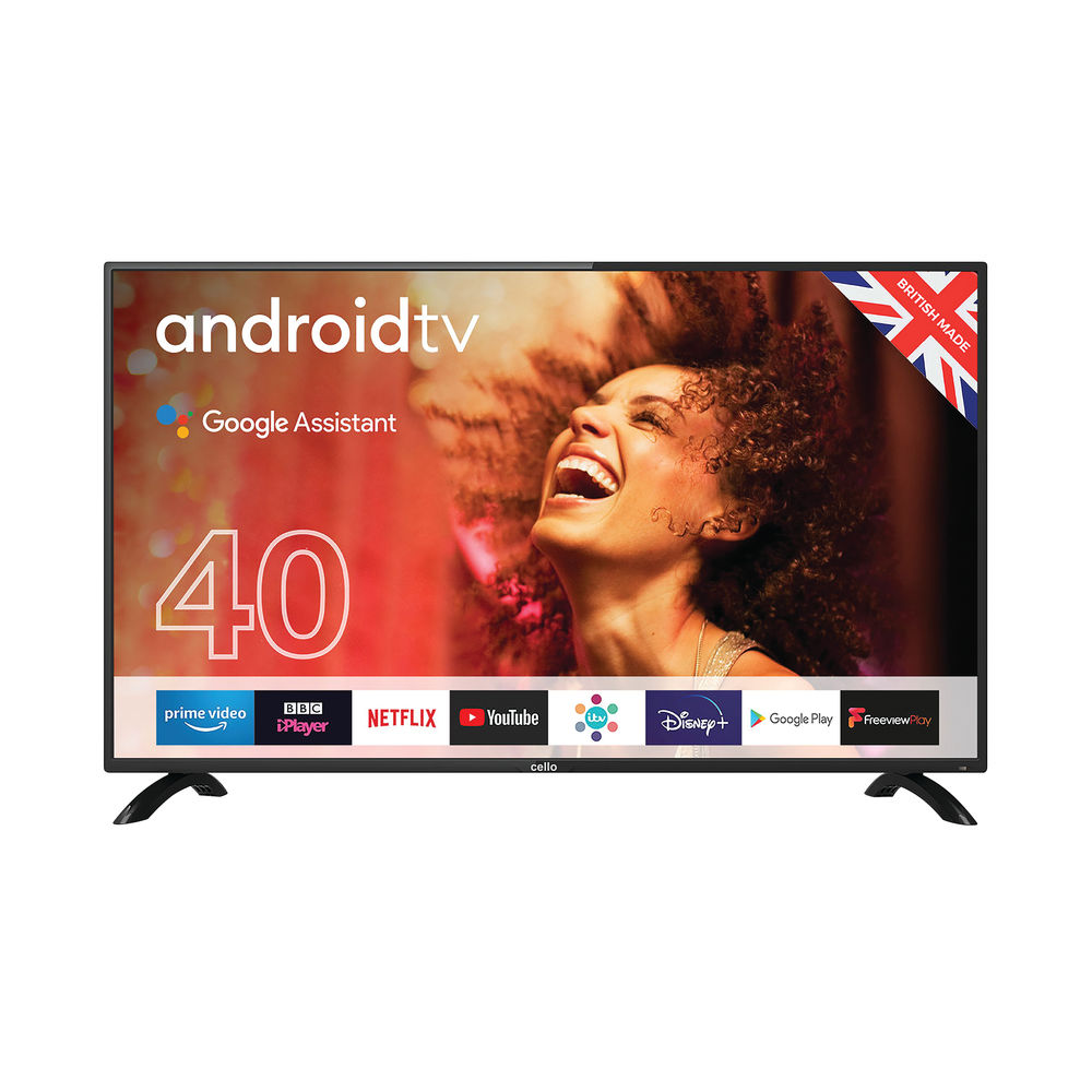Cello 40 Inch Smart Android Freeview TV with Google Assistant 1080p C4020G