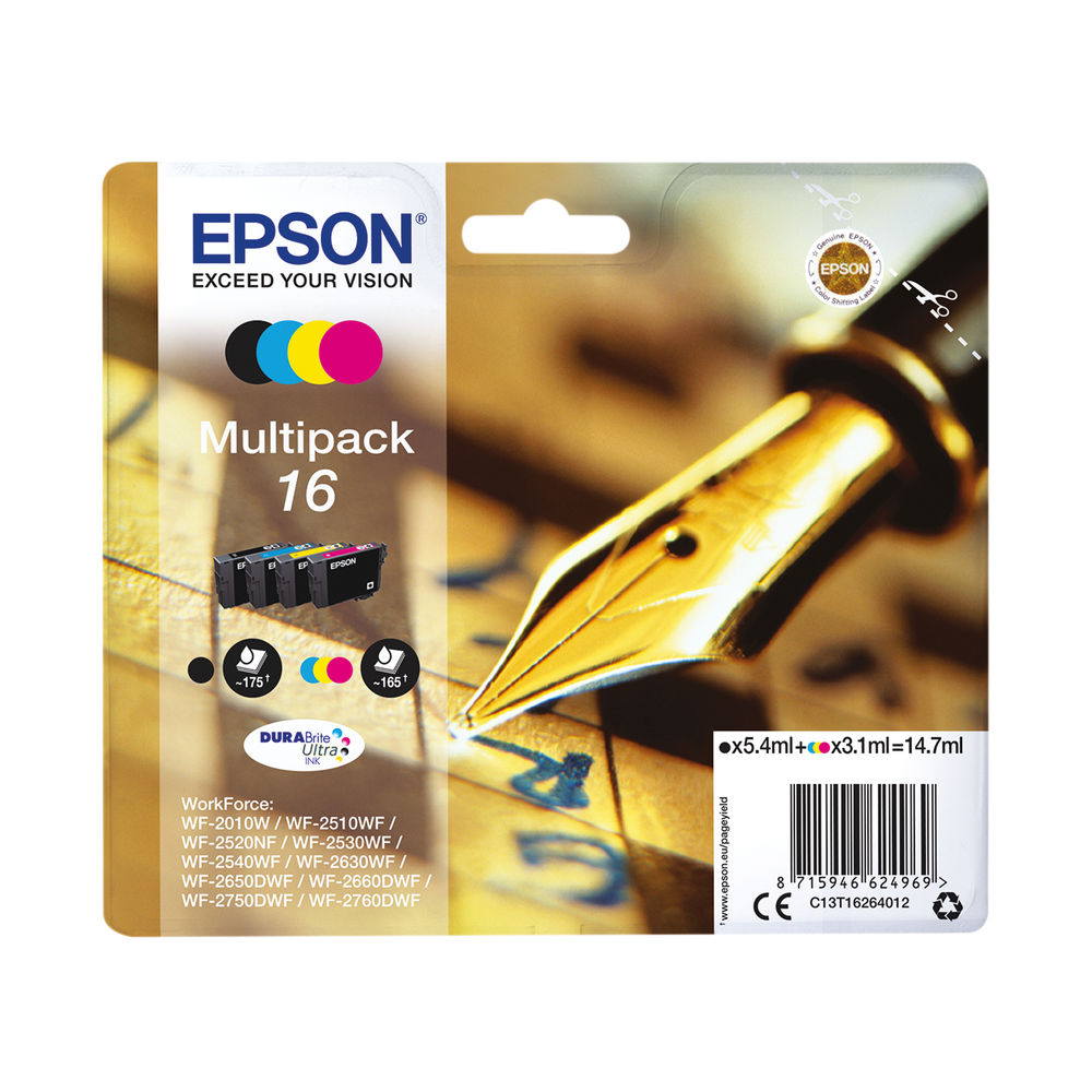 Epson 16 CMYK Ink Cartridge Multipack - C13T16264012