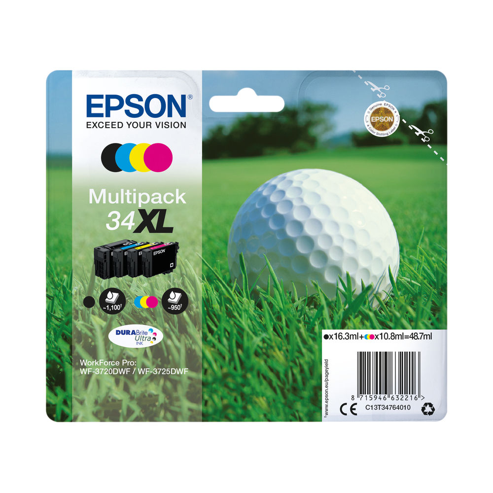 Epson 34XL High Capacity CMYK Ink Cartridge Multipack - C13T34764010