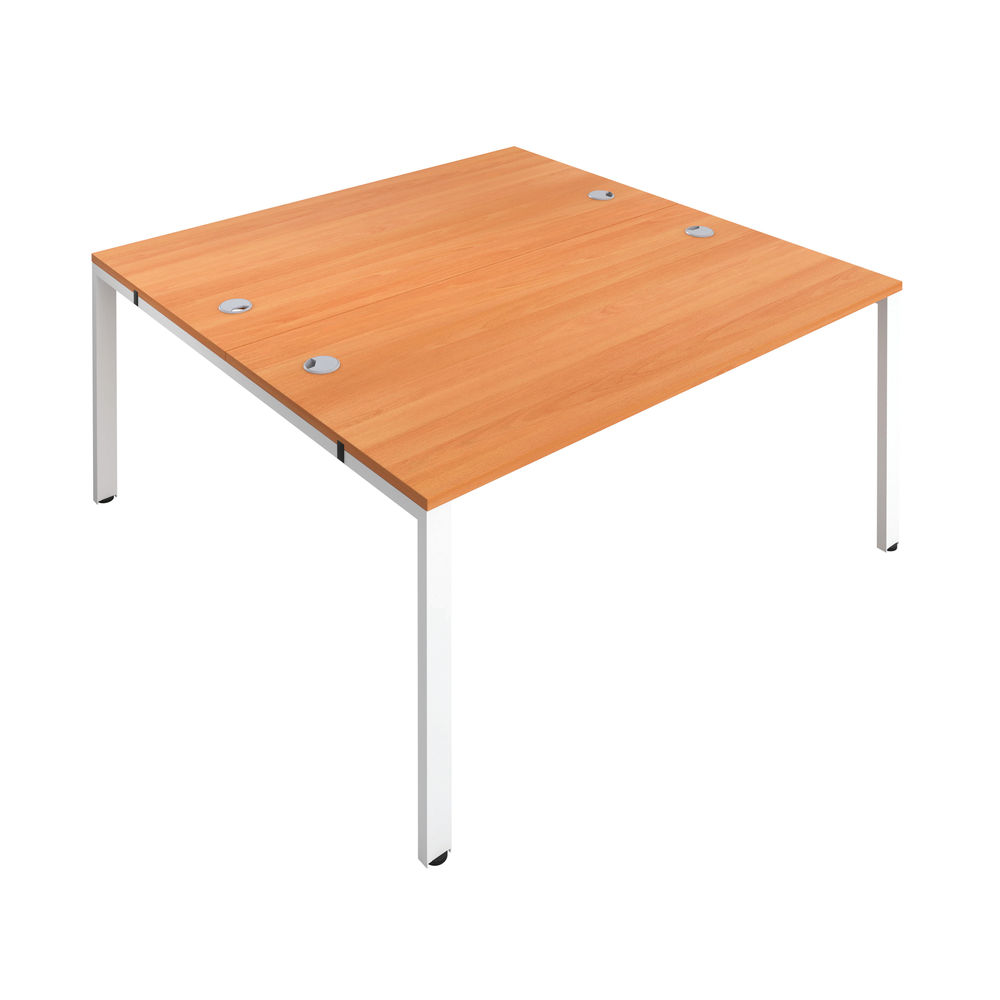 Jemini 1200mm Beech/White Two Person Bench Desk