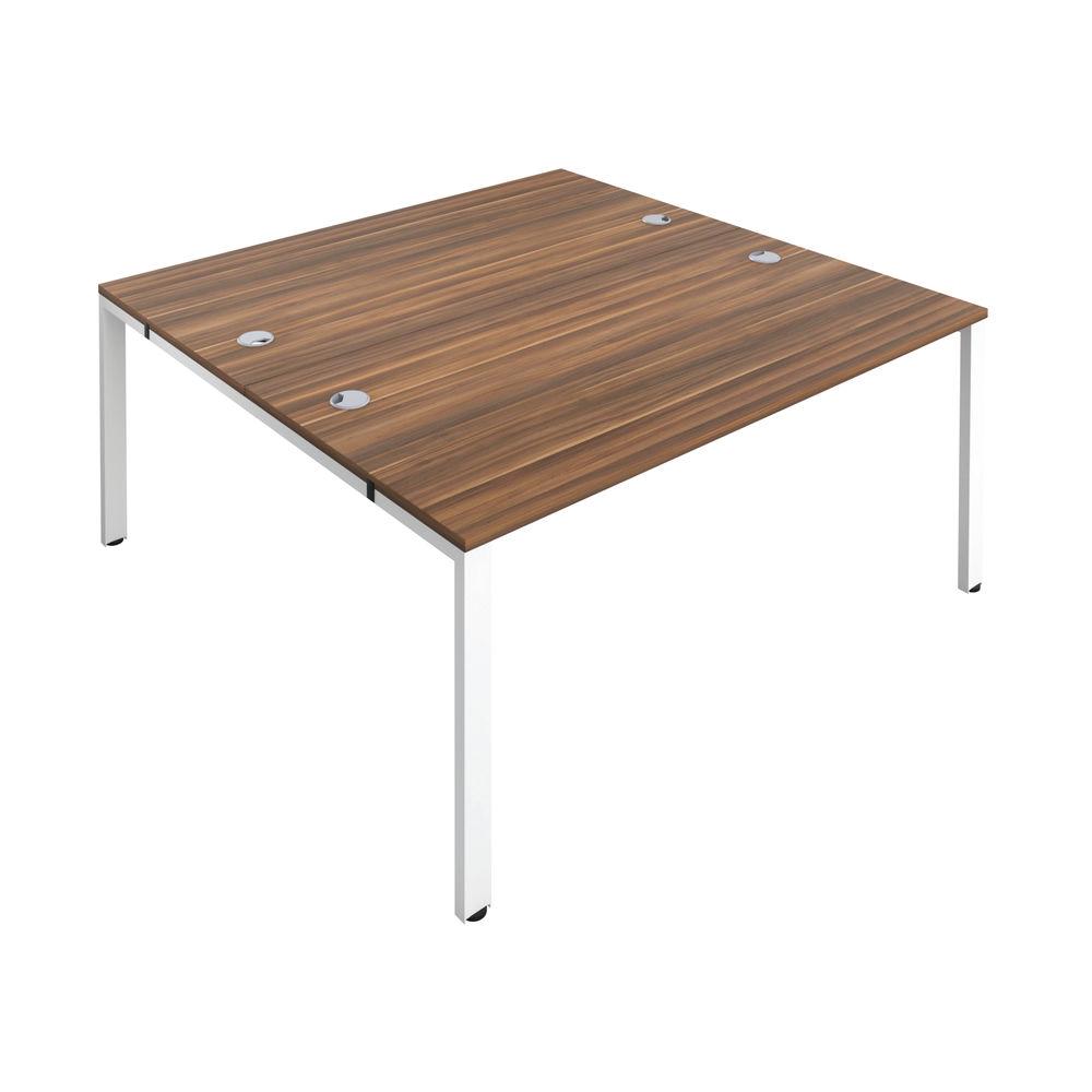 Jemini 1200mm Dark Walnut/White Two Person Bench Desk
