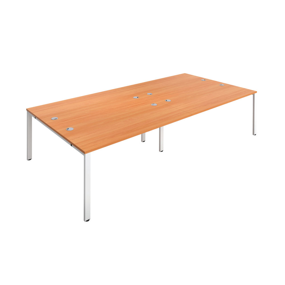 Jemini 1200mm Beech/White Four Person Bench Desk