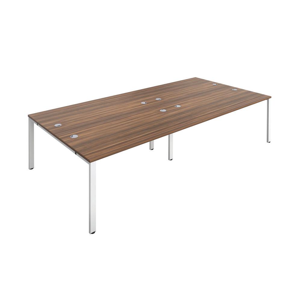 Jemini 1200mm Dark Walnut/White Four Person Bench Desk