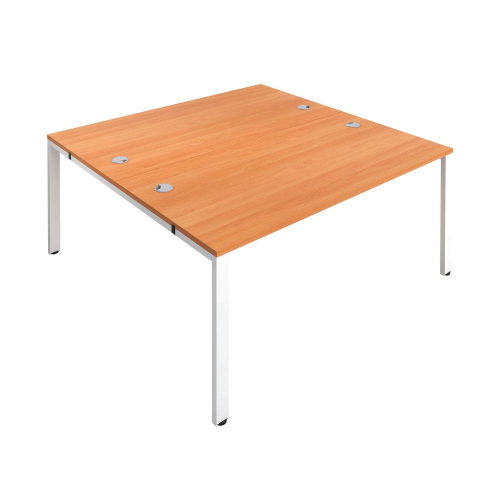 Jemini 1400mm Beech/White Two Person Bench Desk