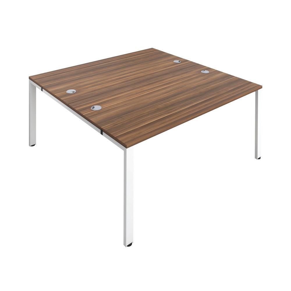Jemini 1400mm Dark Walnut/White Two Person Bench Desk