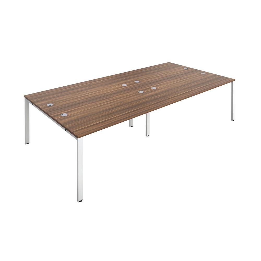 Jemini 1400mm Dark Walnut/White Four Person Bench Desk