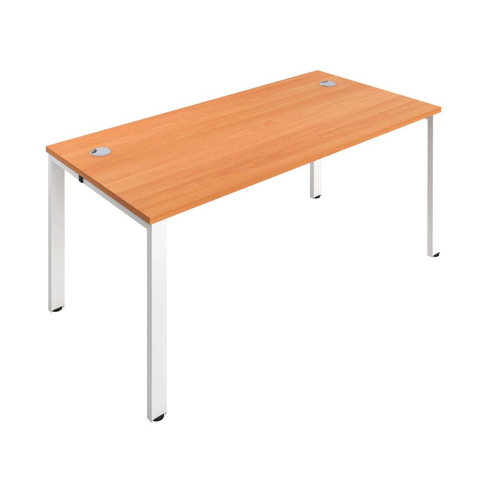 Jemini 1600mm Beech/White One Person Bench Desk