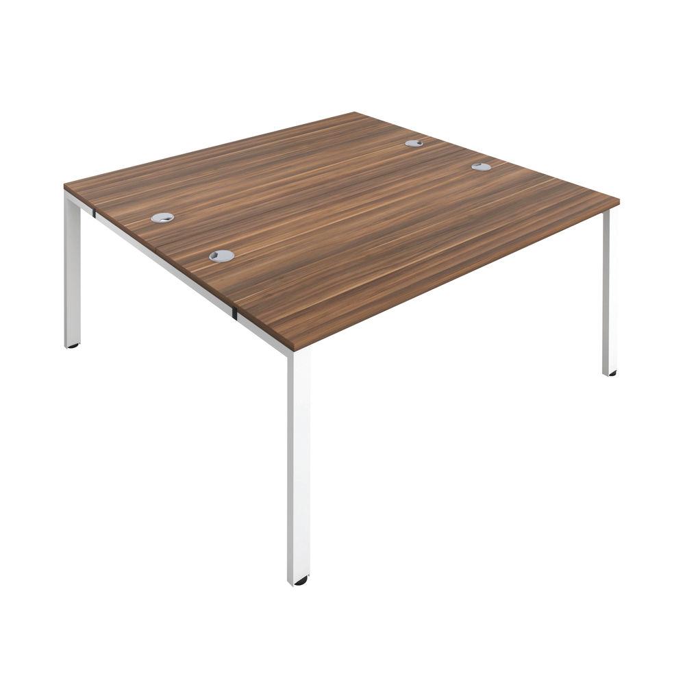 Jemini 1600mm Dark Walnut/White Two Person Bench Desk