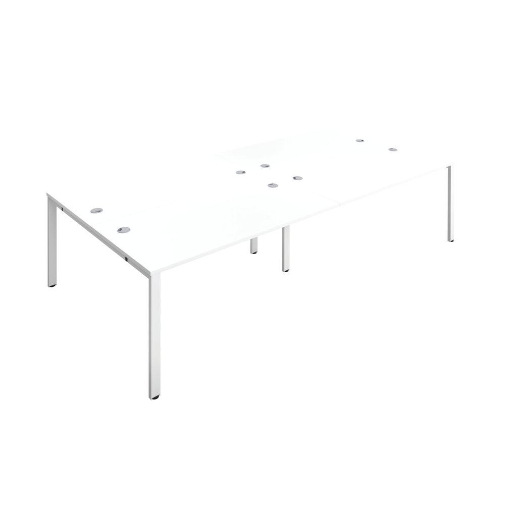 Jemini 1600mm White/White Four Person Bench Desk