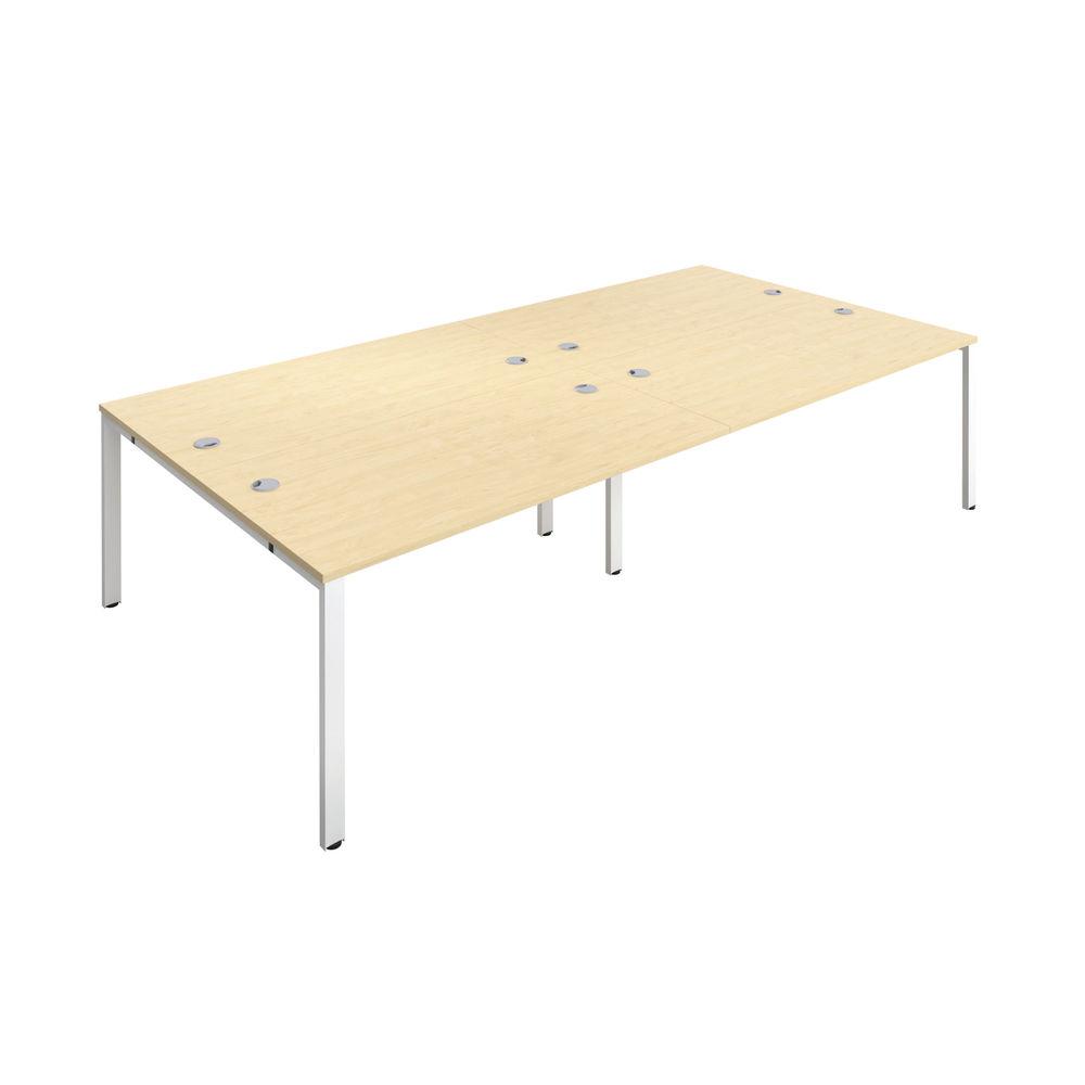 Jemini 1600mm Maple/White Four Person Bench Desk