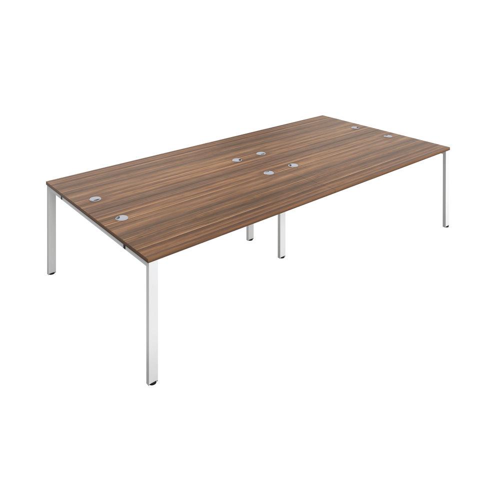 Jemini 1600mm Dark Walnut/White Four Person Bench Desk