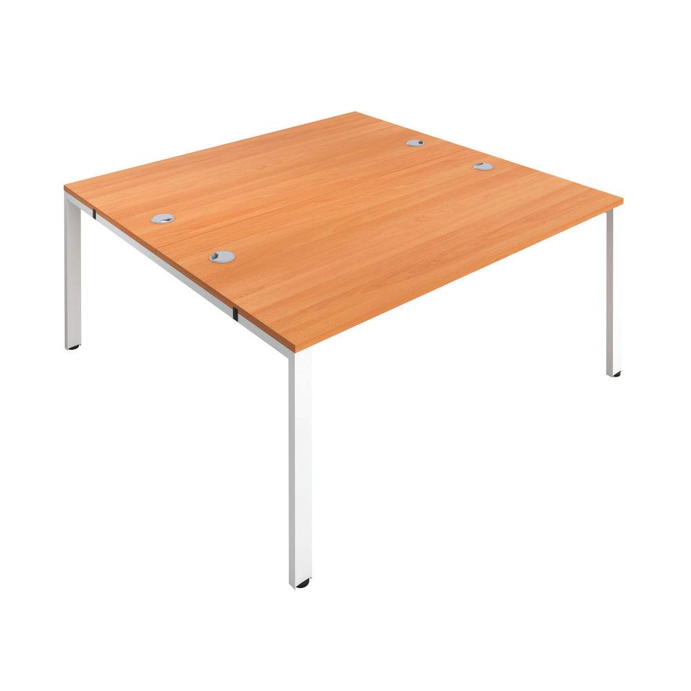 Jemini 1600mm Beech/White Two Person Bench Desk