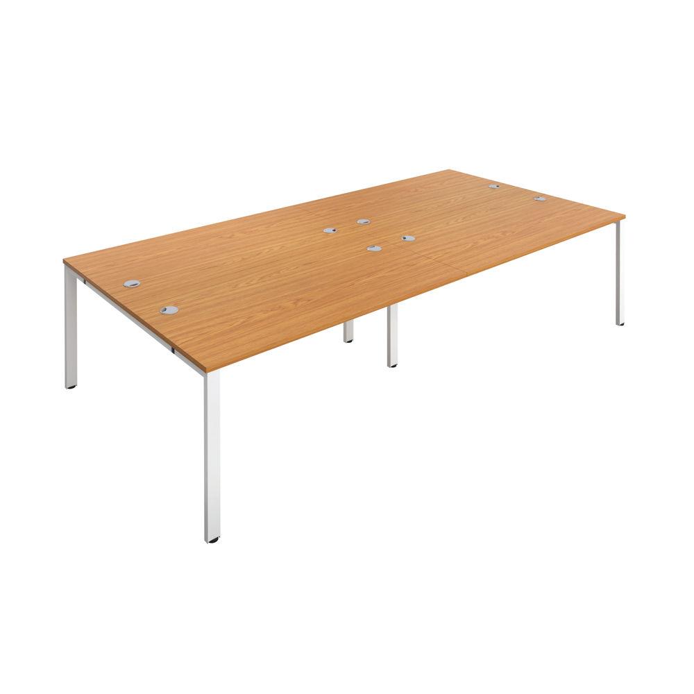 Jemini 1600mm Nova Oak/White Four Person Bench Desk