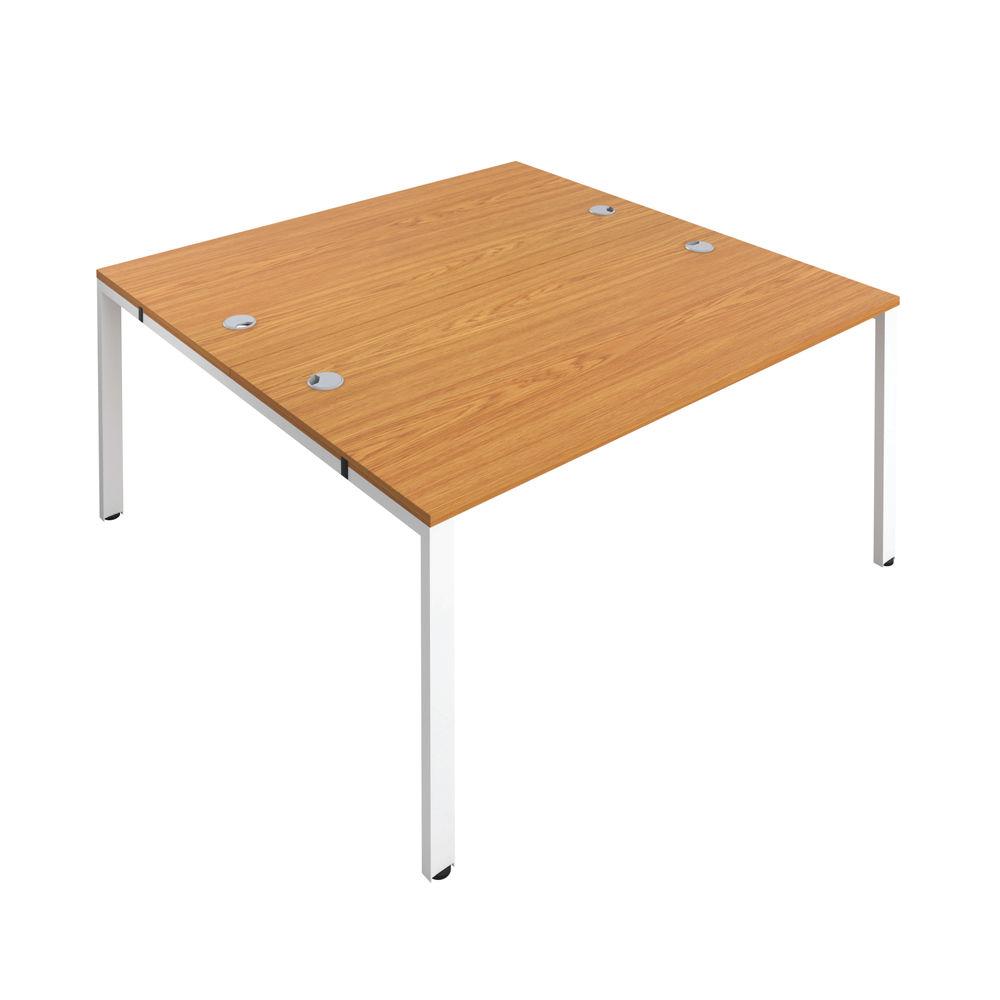 Jemini 1200mm Nova Oak/White Two Person Bench Desk
