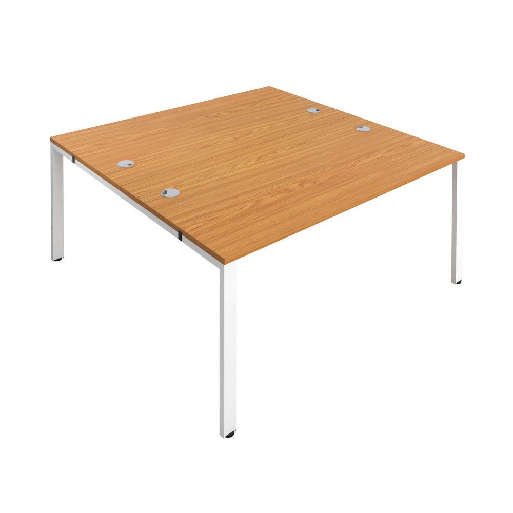 Jemini 1400mm Nova Oak/White Two Person Bench Desk
