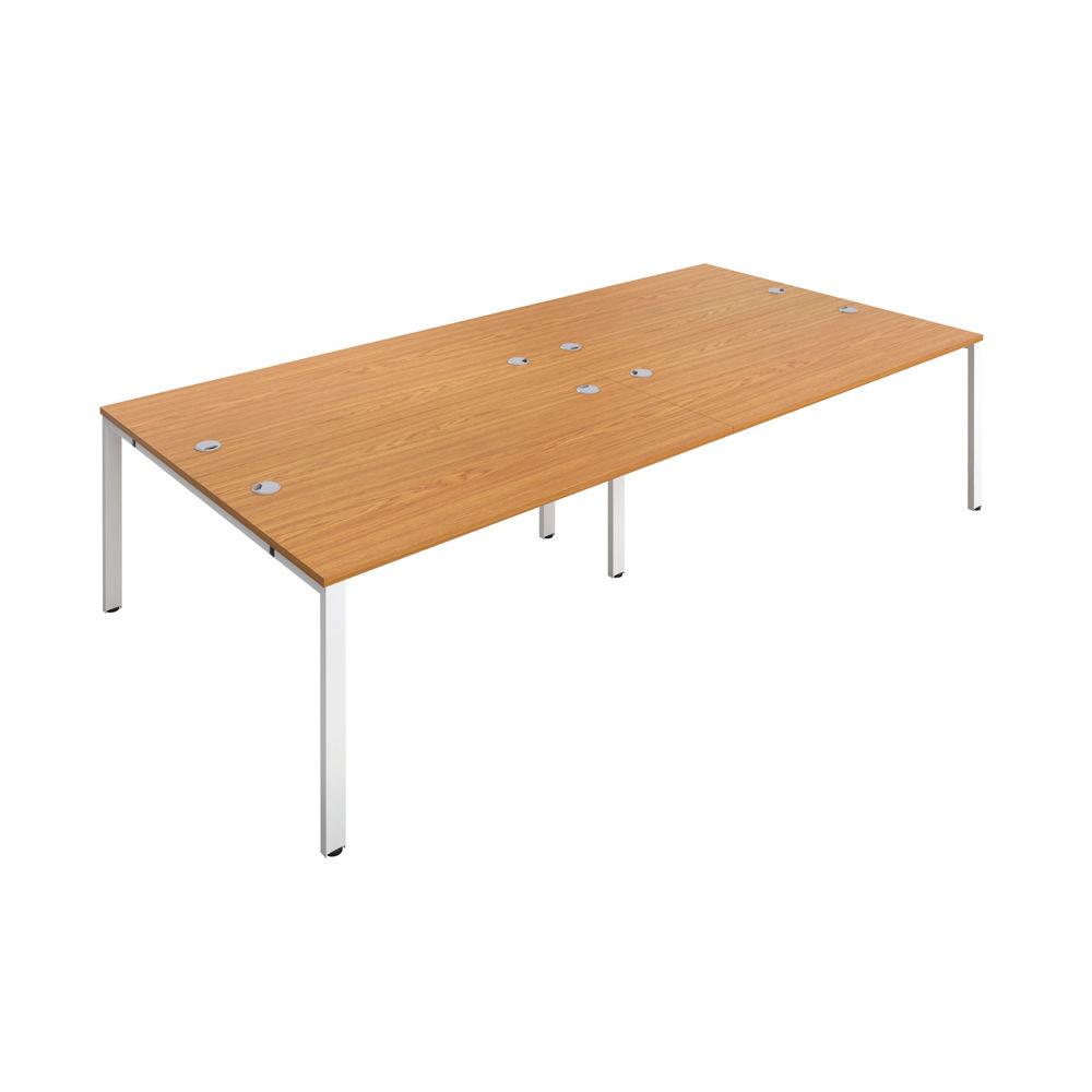 Jemini 1400mm Nova Oak/White Four Person Bench Desk