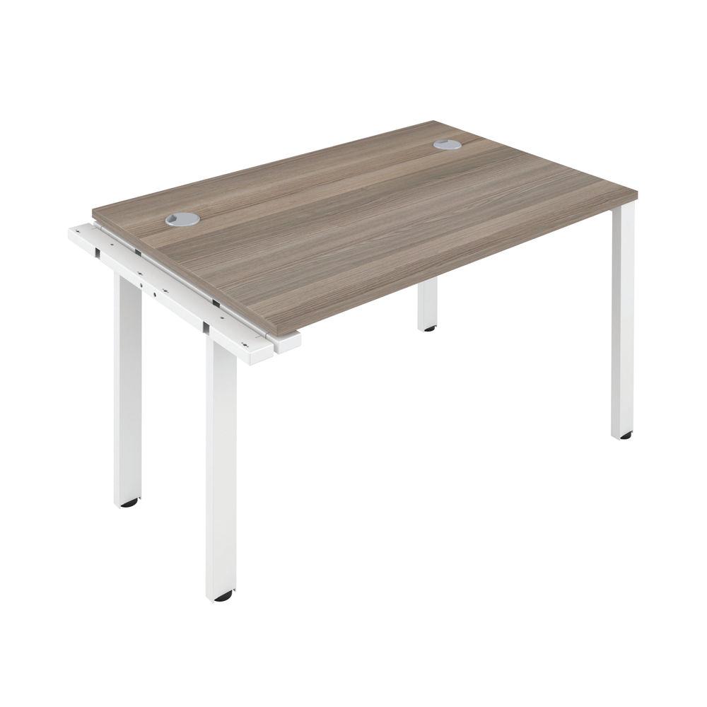 Jemini 1600mm Grey Oak/White One Person Extension Desk