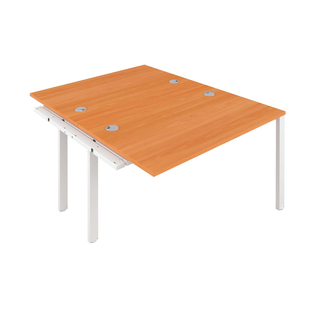Jemini 1600mm Beech/White Two Person Extension Desk