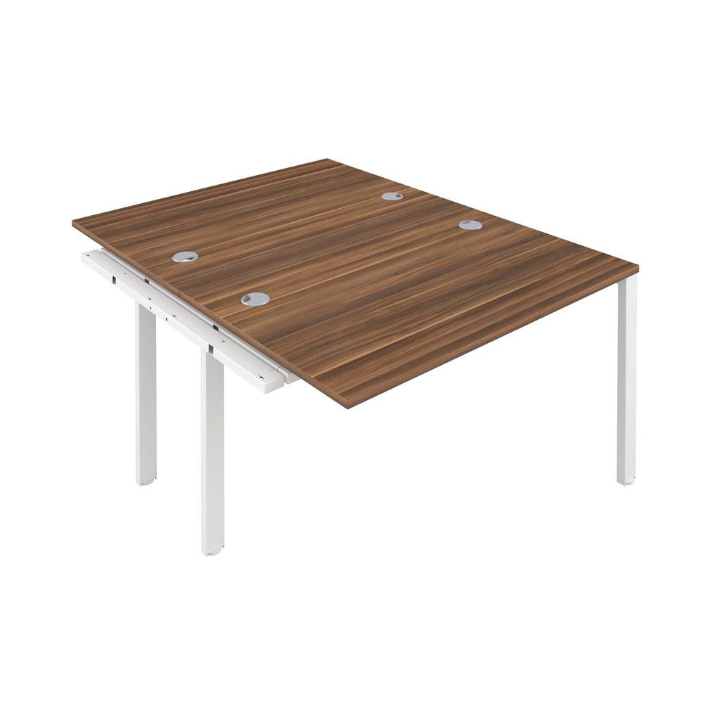 Jemini 1600mm Dark Walnut/White Two Person Extension Desk