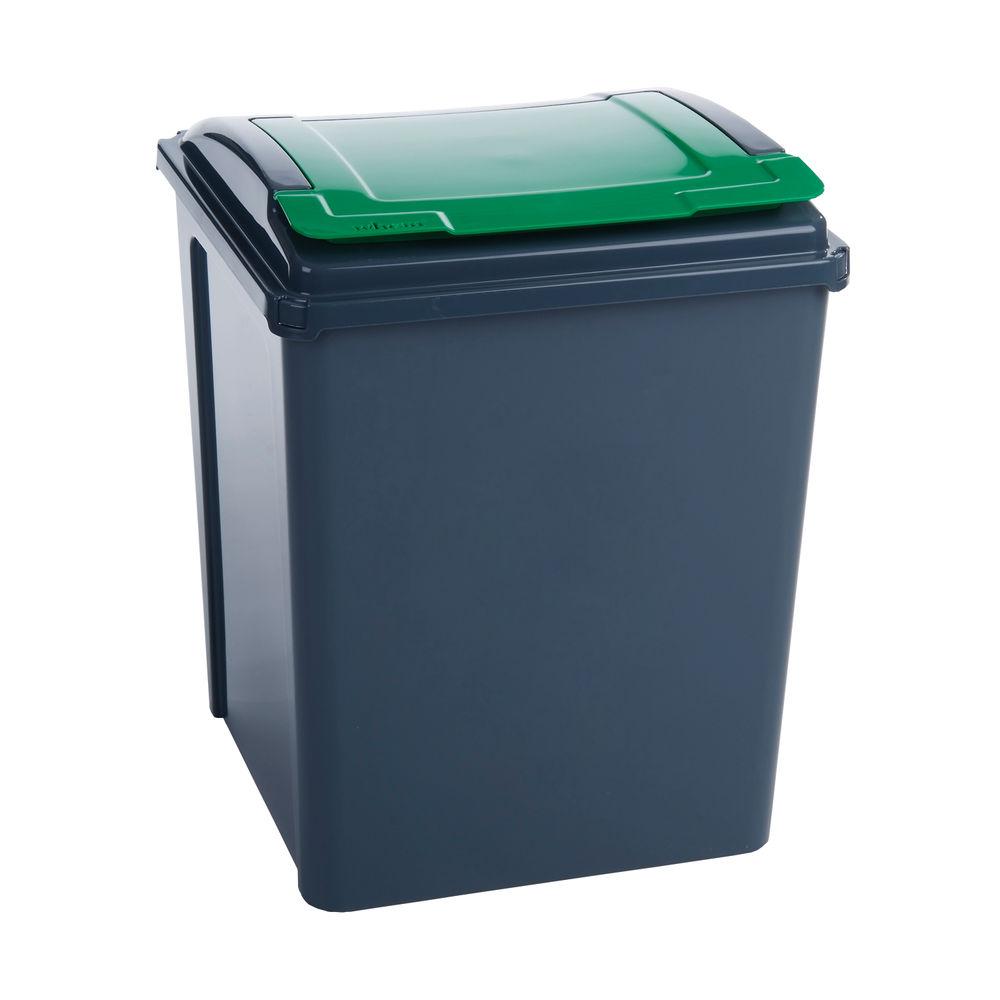 VFM Recycling Bin With Lid 50 Litre Green (Dimensions: W390 x D400 x H510mm) 384