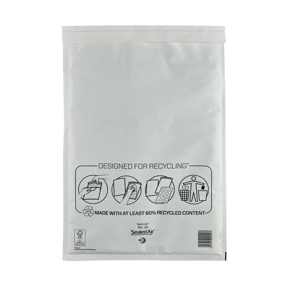 Mail Lite J/6 300 x 440mm Bubble Lined Postal Bags, Pack of 50 - MLW J/6