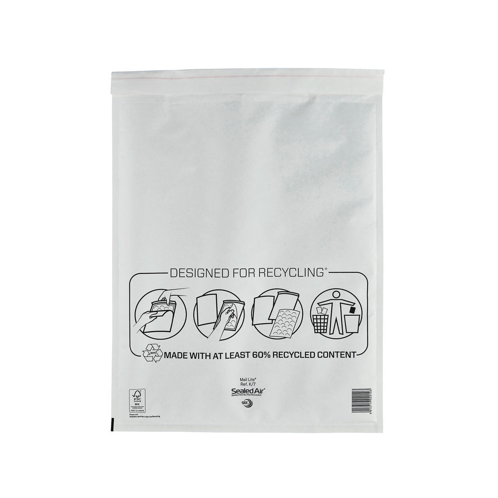 Mail Lite K/7 350 x 470mm Bubble Lined Postal Bags, Pack of 50 - MLW K/7