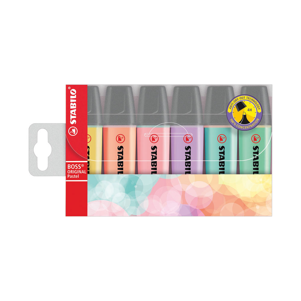 STABILO Boss Original Assorted Pastel Highlighters, Pack of 6 - 70/6-2
