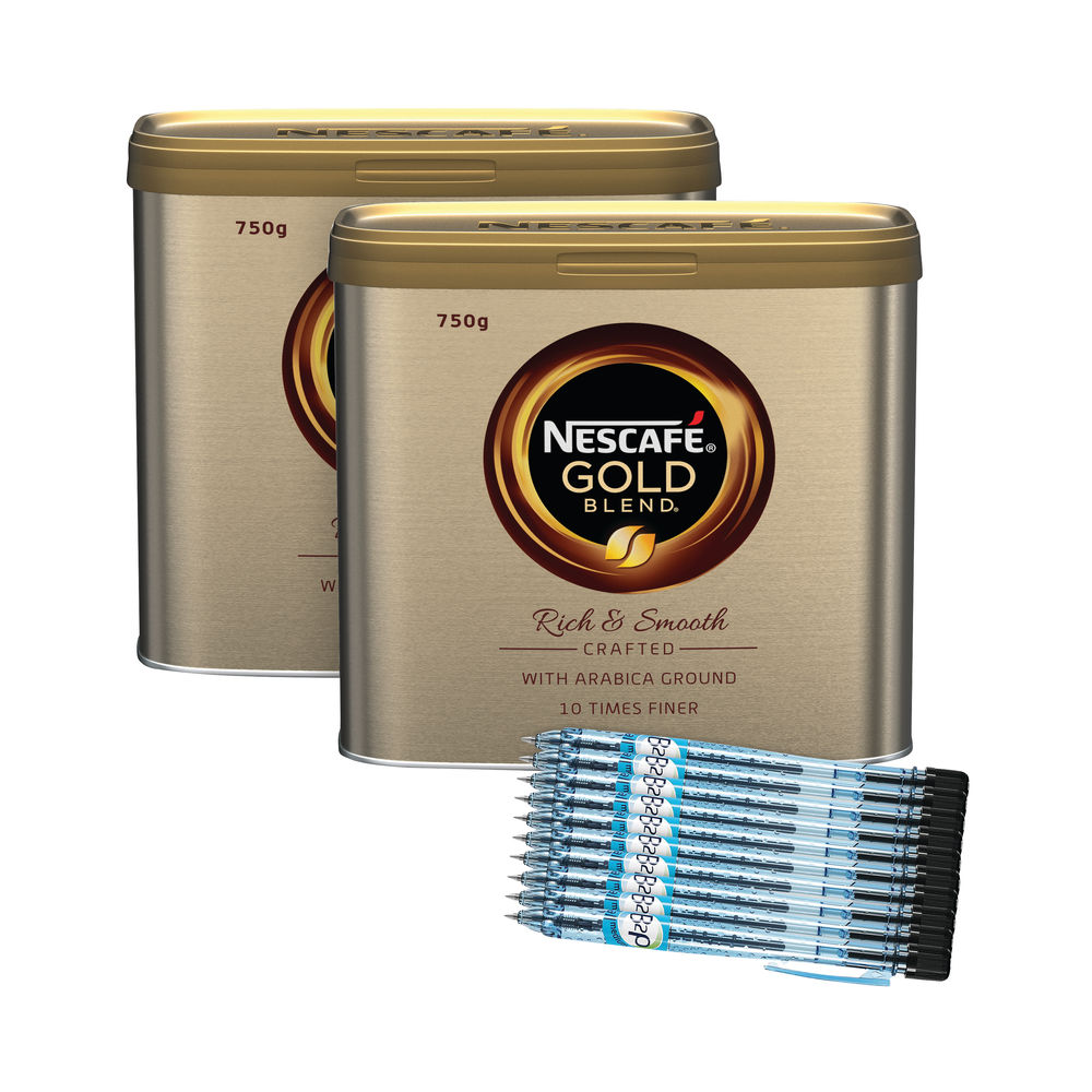 Nescafé 750g Gold Blend Instant Coffee Tins (2 Pack of Coffee + 10 Pilot Pens) –