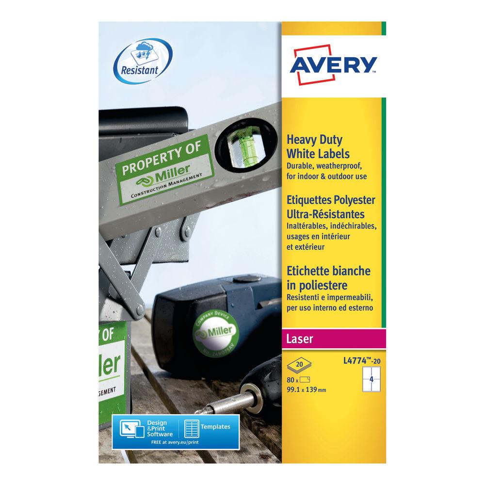 Avery Laser Label Heavy Duty 4 Per Sheet White (Pack of 80) L4774-20