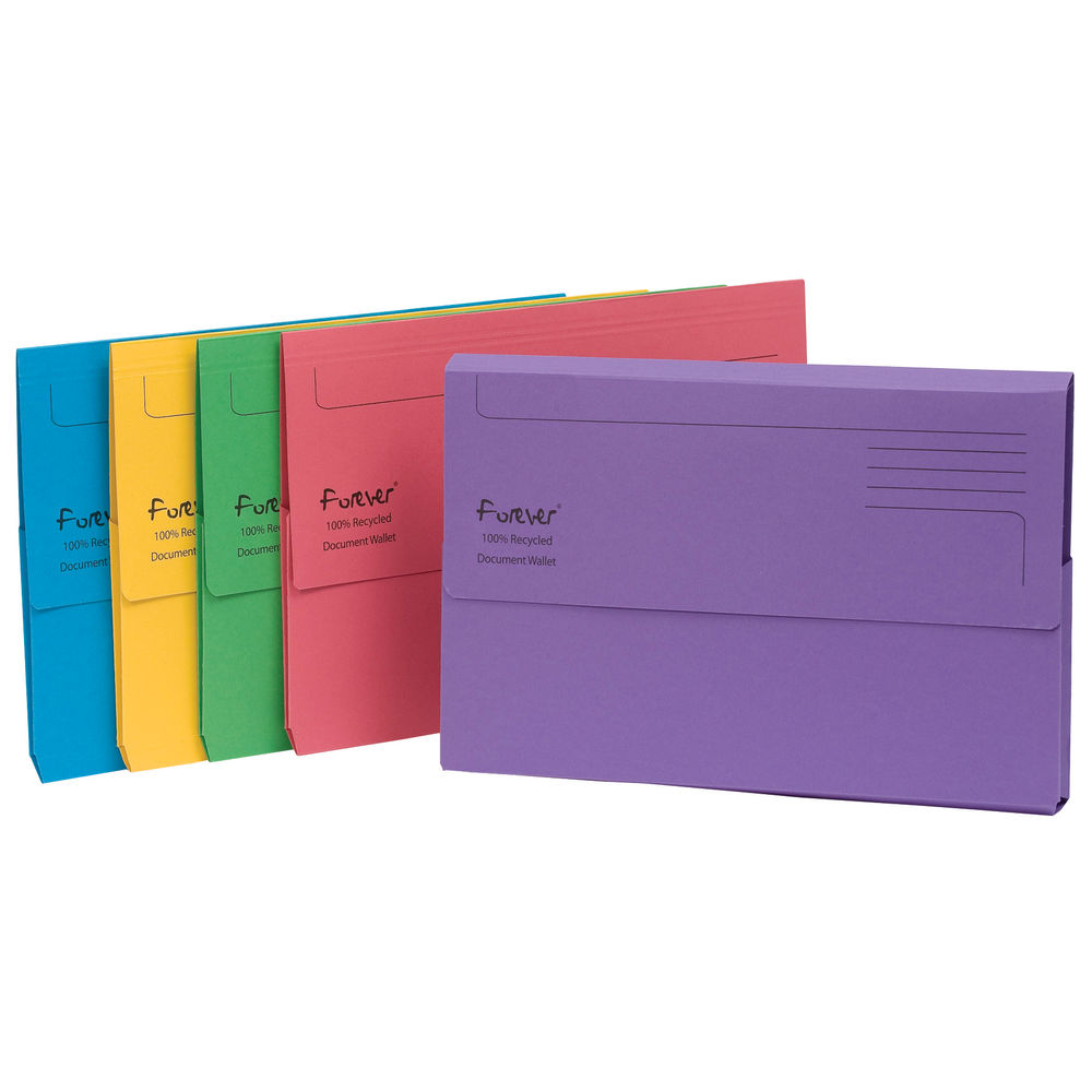 Forever Foolscap Bright Assorted Document Wallets 300gsm - Pack of 25 - 211/5000
