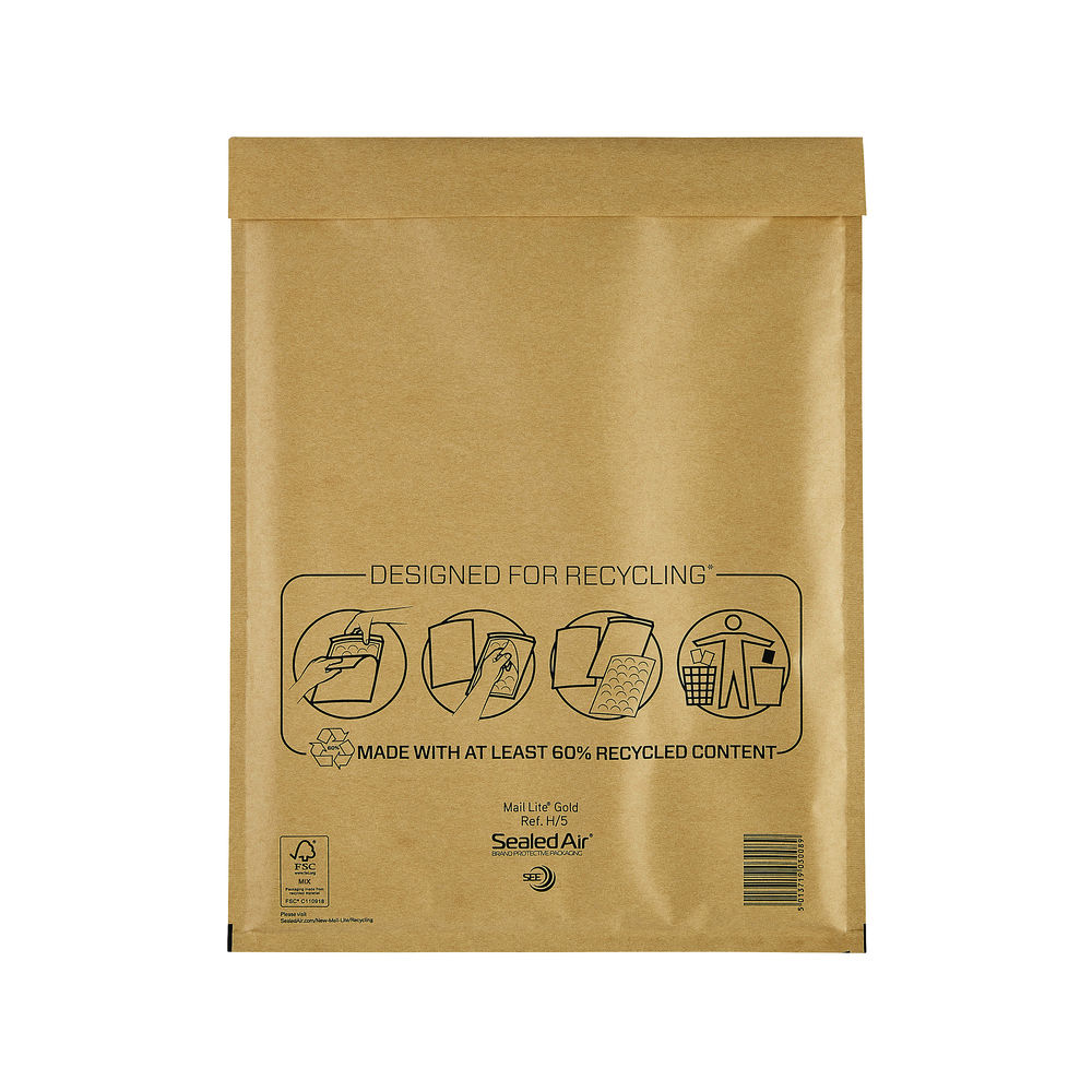 Mail Lite Bubble Lined Postal Bag Size H/5 270x360mm Gold (Pack of 50) 103027407