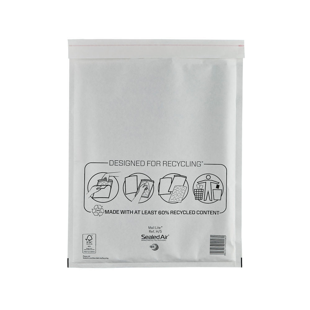 Mail Lite H/5 270 x 360mm Bubble Lined Postal Bags, Pack of 50 - MLW H/5