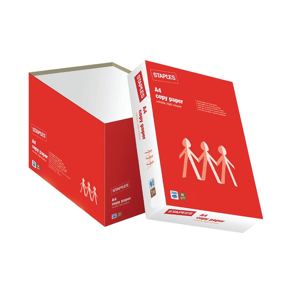 Staples A4 White Copy Paper 80gsm Quick Pack (Pack of 2500) 8001340