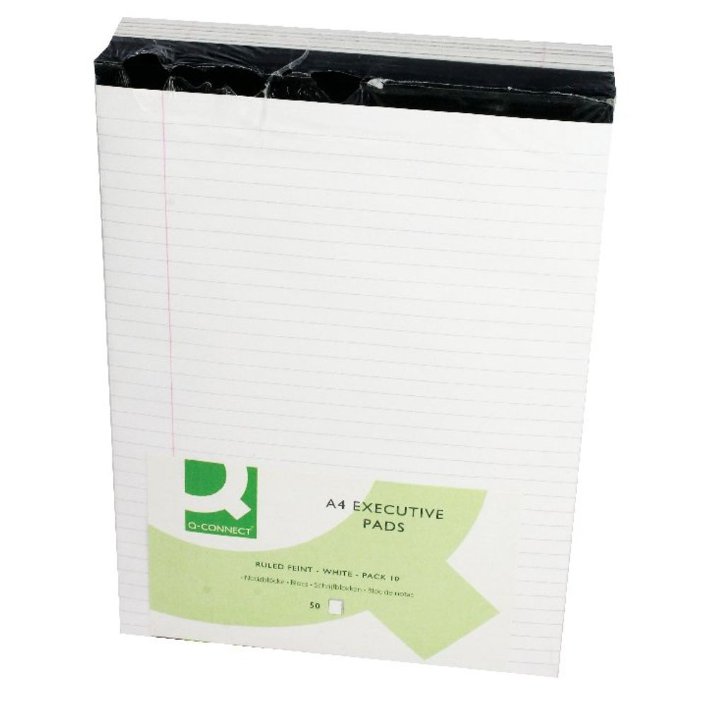Q-Connect White A4 Ruled Pads 70gsm, Pack of 10 - KF01386