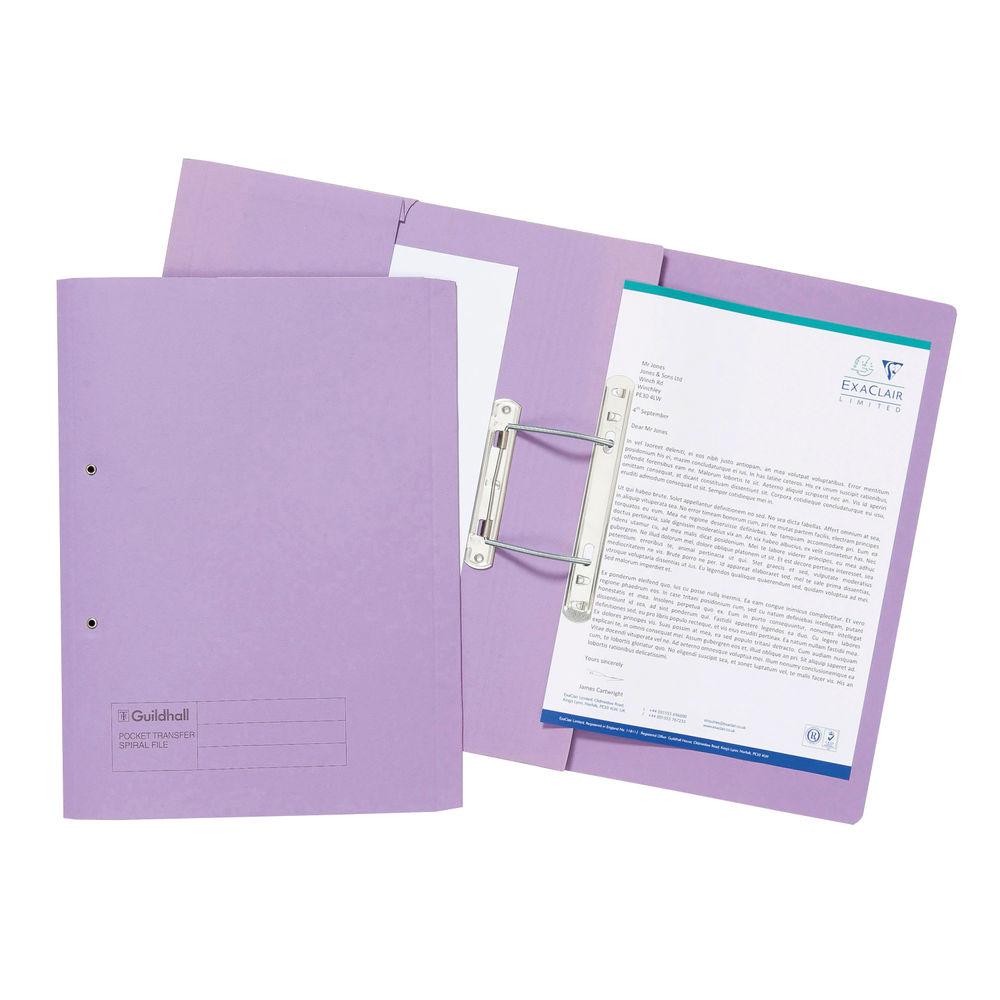 Guildhall Mauve Transfer Spiral Pocket Files 315gsm, Pack of 25 - 27214