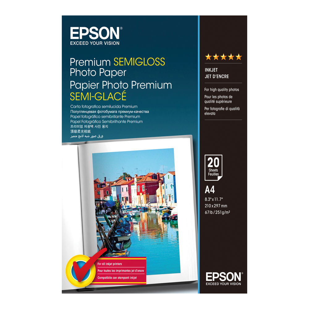 Epson Premium A4 Semi-Gloss Photo Paper, 251gsm, Pack of 20 - SO41332
